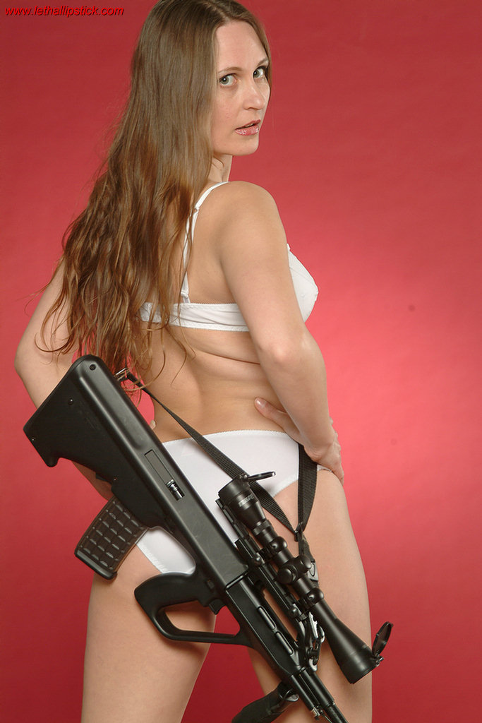 Babe Masterbating With Gun